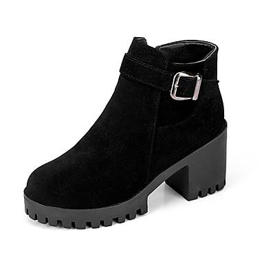 Mujer Zapatos PU Invierno Confort Botas Negro / Marrón / Verde bJiZcR