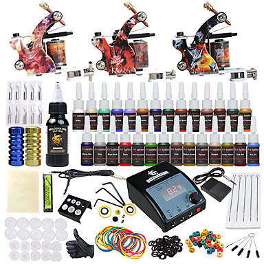 Tattoo Machine Startkit - 3 pcs Tatueringsmaskiner med 28 x 5 ml tatueringsfärger, Professionell LCD strömförsörjning No case 3 x legering tatuering maskin för lining och skuggning