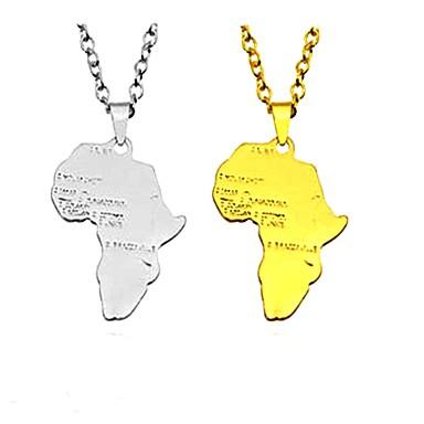 levne Pánské šperky-Pánské Dámské Náhrdelníky s přívěšky Přívěšky Mapy Alphabet Shape Klasické Geleneksel Módní Inspirační Slitina Zlatá Stříbrná Náhrdelníky Šperky Pro Klub Bar