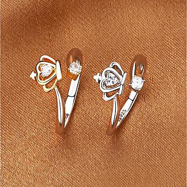 billige Motering-Dame Parringer vikle ring Diamant Kubisk Zirkonium 1 Gull Hvit Gullbelagt Mote Bryllup Gave Smykker Tofargede to steiner Krone