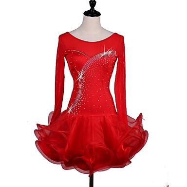Λάτιν Χοροί Φορέματα Γυναικεία Επίδοση Spandex Κρύσταλλοι / Στρας Με διαδοχικές σούρες Μακρυμάνικο Φόρεμα