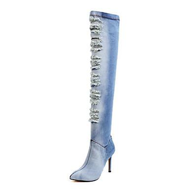 Les Dates De Sortie Authentique Mujer Zapatos Tejido Otoño Botas de Moda Botas Dedo Puntiagudo Botas altas Azul Oscuro Prix Bas Vente Discount Sortie De Nouveaux Styles En Vente En Ligne Jeu Meilleur Endroit 2KrLDeFo