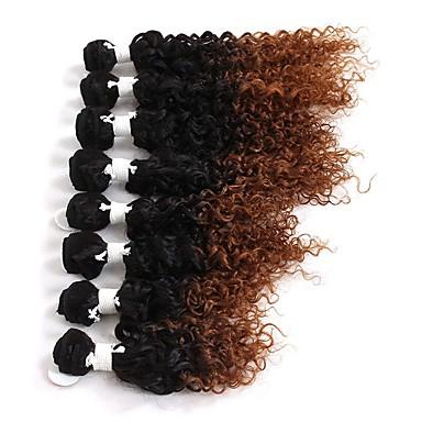 povoljno Ekstenzije od ljudske kose-8 paketića Brazilska kosa Kinky Curly Duboko Val Virgin kosa Ombre 8-14 inch Ombre Isprepliće ljudske kose Proširenja ljudske kose / 10A