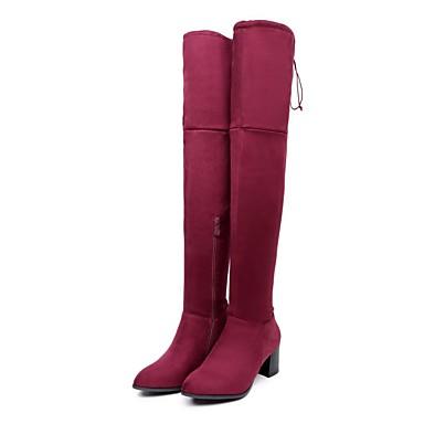 ced1c13feb Mujer Zapatos Cuero Nobuck Otoño Invierno Botas de Moda Botas Dedo redondo Botas  altas para Oficina y carrera Vestido Negro Gris Wine 6379599 2019 –  39.99