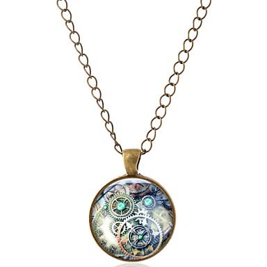 levne Pánské šperky-Pánské Dámské Náhrdelníky s přívěšky Geometrické Evropský Geleneksel Módní Sklo Kov Slitina Stříbrná Bronzová Náhrdelníky Šperky 1 Pro Jdeme ven Miláček