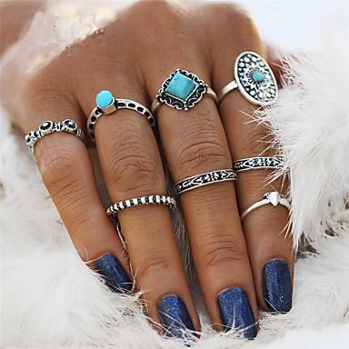 levne Pánské šperky-Dámské Prsten kroužek na nehty Sada kroužků Pinky Ring Tyrkysová 8ks Stříbrná Slitina Prohlášení Vintage Cikánské Svatební Párty Šperky