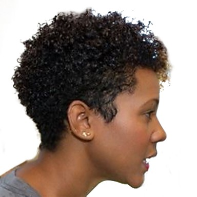 cheap Clearance-Human Hair Capless Wigs Human Hair Kinky Curly / Jerry Curl Short Hairstyles 2019 African American Wig Short Machine Made Wig Women's