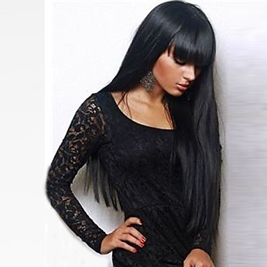 cheap Synthetic Trendy Wigs-Synthetic Wig Straight Kardashian Straight With Bangs Wig Long Black#1B Synthetic Hair 24 inch Women's With Bangs Black