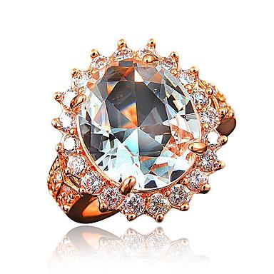 billige Moderinge-Dame Band Ring Kvadratisk Zirconium 1 Hvid Rød Marineblå Zirkonium Rødguldbelagt Cirkelformet Geometrisk form Klassisk Vintage Europæisk Bryllup Fest Smykker Krone / Overdimensionerede