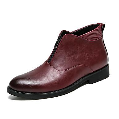 ราคาถูก Clearance-สำหรับผู้ชาย Fashion Boots หนังสัตว์ ตก / ฤดูหนาว บูท รองเท้าบู้ทหุ้มข้อ สีดำ / แดง / พรรคและเย็น / พรรคและเย็น