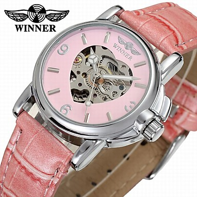 cheap Ring Watches-WINNER Women's Dress Watch Skeleton Watch Wrist Watch Automatic self-winding Leather Black / Blue / Pink 30 m Hollow Engraving Analog Ladies Elegant Colorful - White Black Pink / Stainless Steel
