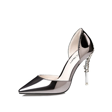 cheap Sculptural Heels-Women's Heels Stiletto Heel Patent Leather Club Shoes Walking Shoes Spring / Summer Dark Grey / Silver / Pink / Wedding / Party & Evening / Dress / 3-4 / Party & Evening