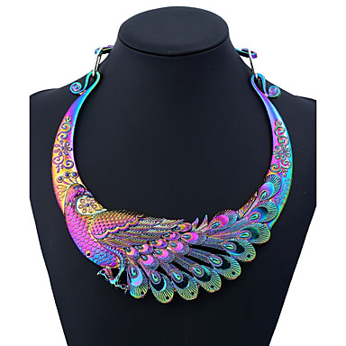 cheap Statement Necklaces-Women's Statement Necklace Ethnic Peacock Ladies Colorful Chunky Metal Alloy Black Gold Silver Rainbow Silver Dragon 50 cm Necklace Jewelry One-piece Suit For Party Daily