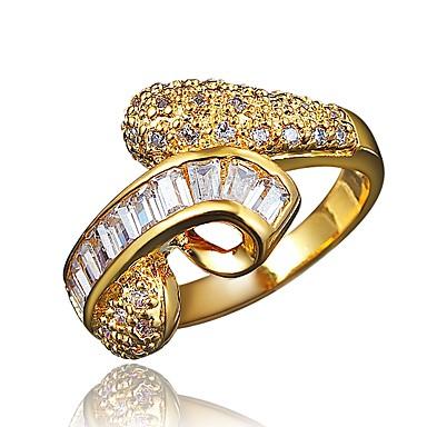 billige Motering-Dame Band Ring Kubisk Zirkonium 1 Sølv Gylden Zirkonium Gullbelagt Sølv Geometrisk Form Klassisk Vintage Europeisk Bryllup Fest Smykker / Oversized