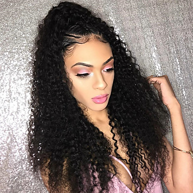 Φυσικά μαλλιά Δαντέλα Μπροστά Χωρίς Κόλλα Δαντέλα Μπροστά Περούκα Με μικρές μπούκλες στυλ Βραζιλιάνικη Kinky Curly Περούκα 150% Πυκνότητα μαλλιών Φυσική γραμμή των μαλλιών Γυναικεία Κοντό Μεσαίο Μακρύ