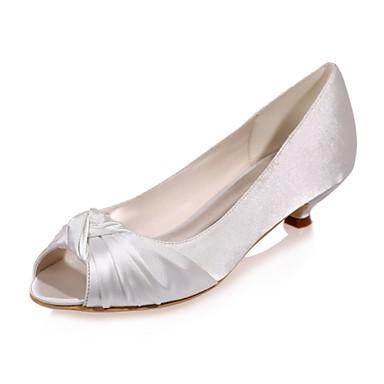 cheap Wedding Shoes-Women's Wedding Shoes Kitten Heel Peep Toe Satin Basic Pump Spring / Summer Blue / Champagne / Ivory / Party & Evening / EU42