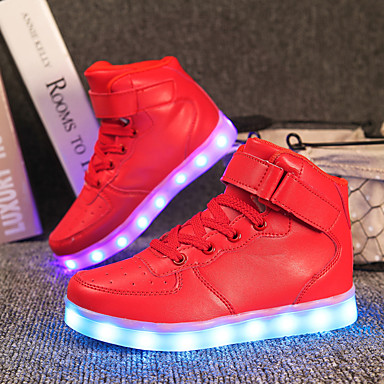 cheap Kids' LED Shoes-Boys' Sneakers LED / Comfort / LED Shoes Customized Materials / Leatherette Little Kids(4-7ys) / Big Kids(7years +) Lace-up / Magic Tape / LED White / Black / Red Fall / Winter / TR