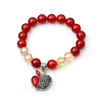 povoljno Modne narukvice-Žene Onyx Narukvica s perlama Apple Moda Elegantno Ahat Narukvica Nakit Crvena Za Škola Ulica