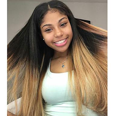 Φυσικά μαλλιά Δαντέλα Μπροστά Χωρίς Κόλλα Δαντέλα Μπροστά Περούκα Κούρεμα καρέ Κούρεμα με φιλάρισμα Με μικρές μπούκλες Kardashian στυλ Βραζιλιάνικη Ίσιο Περούκα 130% Πυκνότητα μαλλιών / Αμεταποίητος