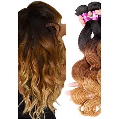 povoljno Ekstenzije od ljudske kose-3 paketa Brazilska kosa Tijelo Wave Remy kosa Ombre 12-22 inch Isprepliće ljudske kose Proširenja ljudske kose / 10A