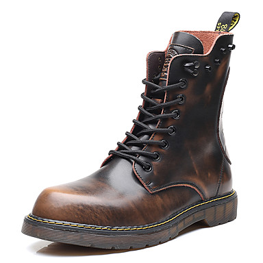 cheap Super Clearance-Men's Motorcycle Boots Leather / Cowhide Fall / Winter Boots Booties / Ankle Boots Black / Brown / Gray / Rivet / Split Joint / Outdoor