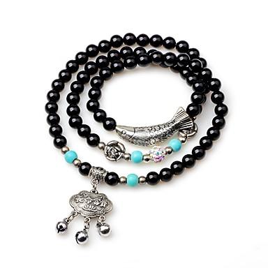 levne Dámské šperky-Dámské Onyx Sopečné sklo Korálkový náramek Wrap Náramky Zvíře Geleneksel Achát Náramek šperky Černá Pro Dar Nový Rok