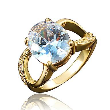 billige Motering-Dame Band Ring Kubisk Zirkonium High End Crystal 1 Hvit Rød Marineblå Zirkonium Gullbelagt Sirkelformet Geometrisk Form Klassisk Vintage Europeisk Bryllup Fest Smykker Prinsesse