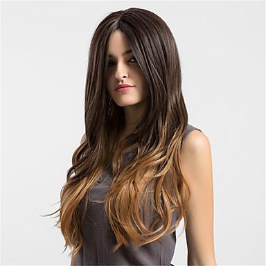 Συνθετικές Περούκες Κυματιστό Κατσαρά Ίσια Κατσαρά Ίσια Περούκα Μακρύ Σκούρο Καφέ / Medium Auburn Συνθετικά μαλλιά Γυναικεία Στη μέση Καφέ MAYSU