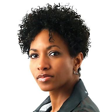 Συνθετικές μπροστινές περούκες δαντέλας Afro Kinky Αφρο Kinky Δαντέλα Μπροστά Περούκα Κοντό Κατάμαυρο Συνθετικά μαλλιά Γυναικεία Περούκα αφροαμερικανικό στυλ Μαύρο StrongBeauty