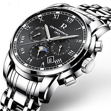 levne Dámské-Pánské Vojenské hodinky Náramkové hodinky mechanické hodinky japonština Automatické natahování Šestičlenná šesticípá Nerez Černá / Stříbro / Zlatá 30 m Voděodolné Kalendář Chronograf Analogové Luxus