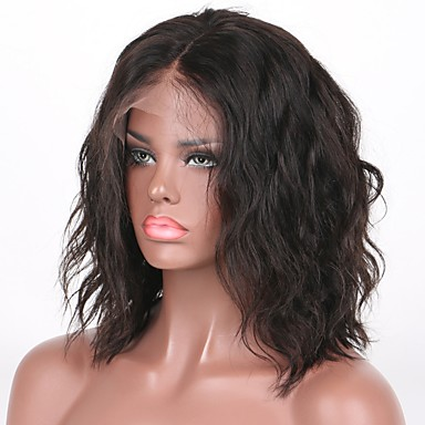 Human Hair Lace Front Wig Bob style Brazilian Hair Water Wave Wig 130% Density 8-30 inch Baby Hair Natural Hairline 100% Virgin Unprocessed Women's Short Human Hair Lace Wig