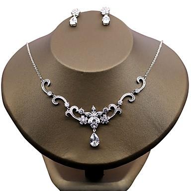 Γυναικεία Cubic Zirconia Λουλούδι Ζιρκονίτης Σκουλαρίκια Κοσμήματα Λευκό Για Γάμου Βραδινό Πάρτυ