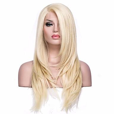 Συνθετικές μπροστινές περούκες δαντέλας Ίσιο Ίσια Σχήμα L Περούκα Ξανθό Μεσαίο Ανοικτό Χρυσαφί Συνθετικά μαλλιά Γυναικεία Ξανθό EEWigs