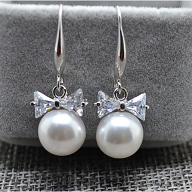 Women S Cubic Zirconia Drop Earrings Imitation Pearl Bowknot Sweet Gold Silver For Wedding Party 6413089 2018 3 99
