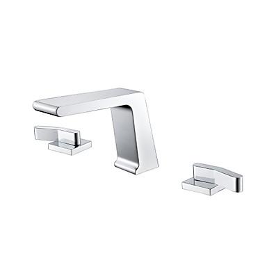 Torneira pia do banheiro - Cascata Cromado Difundido Duas alças de três furosBath Taps