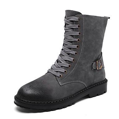 Hombre Zapatos PU Invierno Botas de Combate Botas Mitad de Gemelo Negro dMm7G