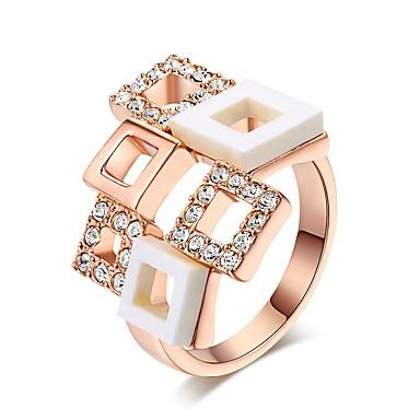 Γυναικεία Band Ring Cubic Zirconia 1 Ασημί Χρυσό Τριανταφυλλί Κρύσταλλο Rose Gold Ζιρκονίτης Επιχρυσωμένο Geometric Shape Ακανόνιστος Βίντατζ Κομψό Γάμου Βραδινό Πάρτυ Κοσμήματα