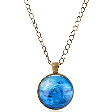 levne Pánské šperky-Pánské Dámské Náhrdelníky s přívěšky Zvíře Vlk Evropský Rokové Sklo Kov Slitina Stříbrná Bronzová Náhrdelníky Šperky 1 Pro Narozeniny Dar