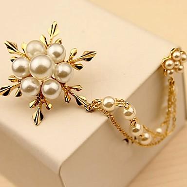 Γυναικεία Καρφίτσες Λουλούδι κυρίες Απλός Κομψό Μαργαριτάρι Καρφίτσα Κοσμήματα Χρυσό Για Καθημερινά Γαμήλια Τελετή