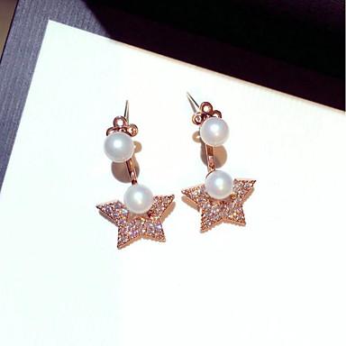 Women's Cubic Zirconia / Rhinestone Zircon / Silver Stud Earrings / Hoop Earrings - Elegant / Fashion / Korean Gold / Silver Geometric