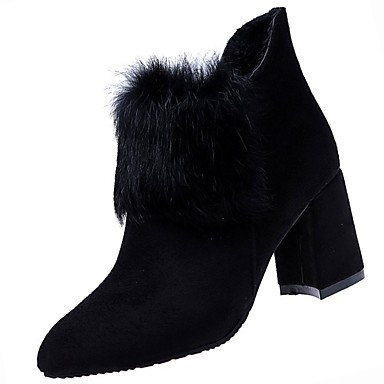 Mujer Zapatos PU Otoño / Invierno Confort Botas Tacón Cuadrado Dedo redondo Botines / Hasta el Tobillo Negro tHqka