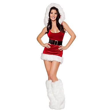 Άγιος Βασίλης Κ. Claus Στολές Γυναικεία Χριστούγεννα Γιορτές / Διακοπές Πολυεστέρας Κόκκινο Αποκριάτικα Κοστούμια Μονόχρωμο Διακοπών Χριστούγεννα