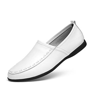preiswerte Herrenschuhe-Herrn Fahrende Schuhe Leder Frühling / Sommer Loafers & Slip-Ons Schwarz / Dunkelbraun / Weiß / EU40