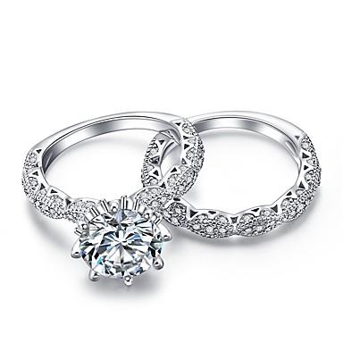 levne Dámské šperky-Dámské Band Ring Kubický zirkon 2 Stříbrná Zirkon Stříbrná Circle Shape Geometric Shape Klasické Vintage Módní Svatební Denní Šperky HALO Korunka Vlna