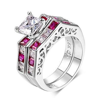 preiswerte Ringe Set-Damen Ringe Set Kubikzirkonia 2 Leicht Rosa Sterling Silber Zirkonia Retro Elegant Hochzeit Party Schmuck
