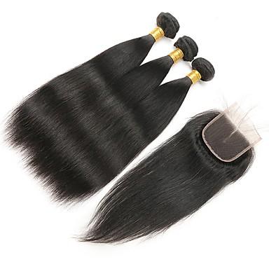 4 πακέτα Βραζιλιάνικη Ίσιο Remy Τρίχα Υφάνσεις ανθρώπινα μαλλιών Υφάνσεις ανθρώπινα μαλλιών Επεκτάσεις ανθρώπινα μαλλιών / 10A / Ίσια