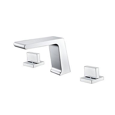 Μπάνιο βρύση νεροχύτη - Καταρράκτης Χρώμιο Αναμεικτικές με ξεχωριστές βαλβίδες Δύο λαβές τρεις οπέςBath Taps