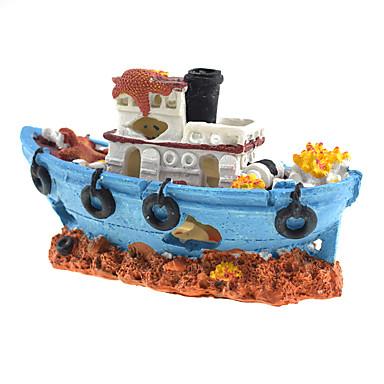 Ενυδρείο ψαριών Διακόσμηση Ενυδρείου Γυάλα για Ψάρια Στολίδια Rock Outcrop Πλοίο Ρητίνη 17*7*10.5 cm