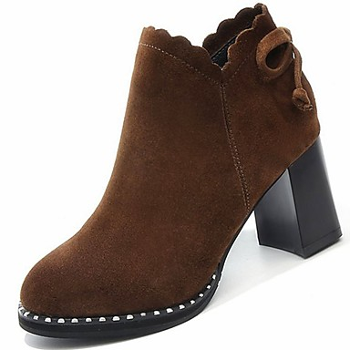 7e10d28724d [$16.09] Women's Suede Winter Fashion Boots Boots Chunky Heel Round Toe  Booties / Ankle Boots Bowknot Black / Dark Brown