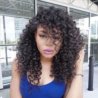 Φυσικά μαλλιά Πλήρης Δαντέλα Χωρίς Κόλλα Πλήρης Δαντέλα Περούκα Κούρεμα καρέ Κούρεμα με φιλάρισμα Με μικρές μπούκλες στυλ Βραζιλιάνικη Kinky Curly Περούκα 150% Πυκνότητα μαλλιών / Αμεταποίητος